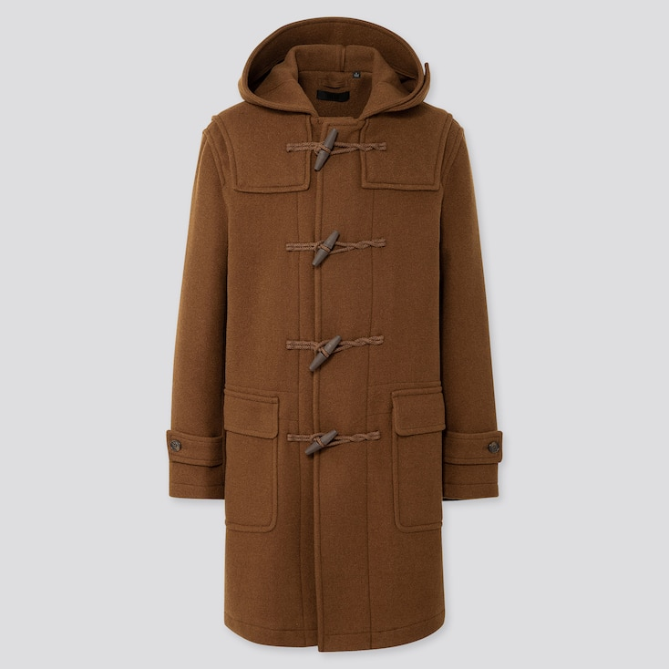 MEN WOOL-BLEND DUFFLE COAT (ONLINE EXCLUSIVE), BROWN, large