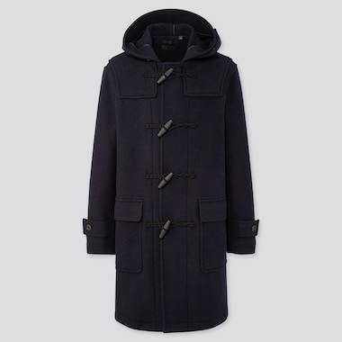 MEN WOOL-BLEND DUFFLE COAT (ONLINE EXCLUSIVE), NAVY, medium