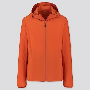 Men Pocketable Parka, Orange, Medium