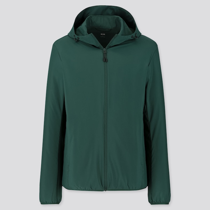 Men Pocketable Parka, Dark Green, Large
