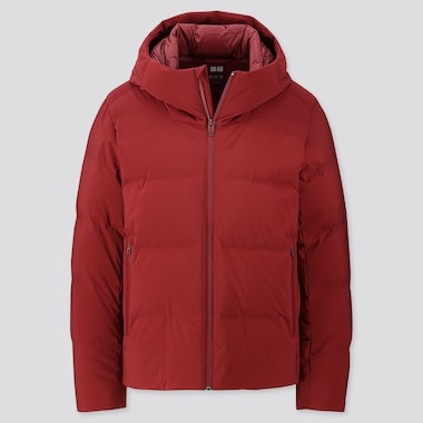 Men Seamless Down Parka, Red, Medium