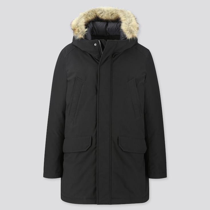 MEN HYBRID DOWN ULTRA WARM COAT, BLACK, large