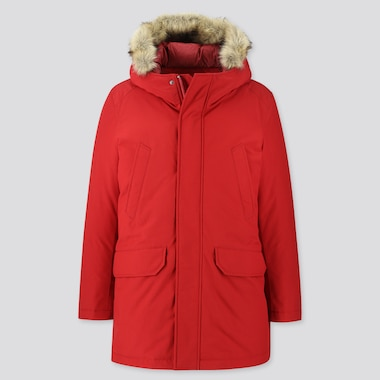 MEN HYBRID DOWN ULTRA WARM COAT, RED, medium