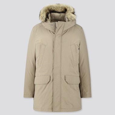 MEN HYBRID DOWN ULTRA WARM COAT, BEIGE, medium