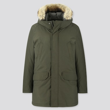 MEN HYBRID DOWN ULTRA WARM COAT, DARK GREEN, medium