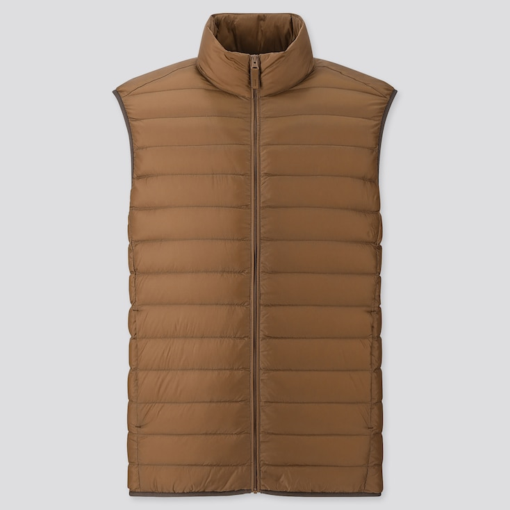 Men Ultra Light Down Vest, Brown, Large