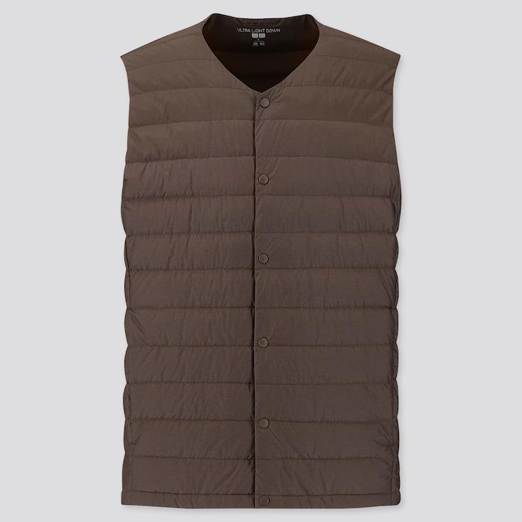 Men Ultra Light Down Compact Vest, Brown, Large