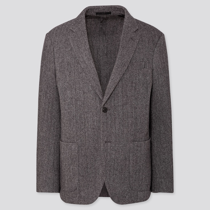 MEN TWEED JACKET, GRAY, large
