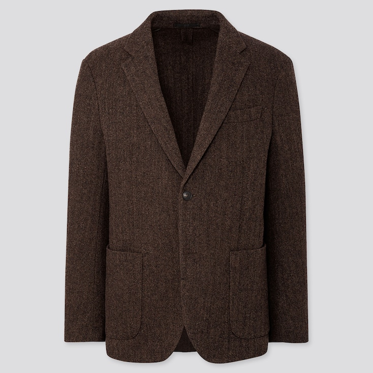 MEN TWEED JACKET, BROWN, large