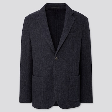MEN TWEED JACKET, NAVY, medium