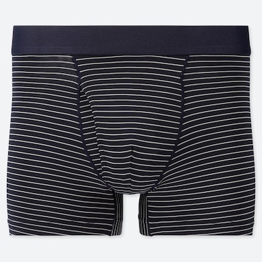 MEN AIRism STRIPE BOXER BRIEFS, NAVY, medium