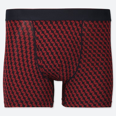 MEN AIRism PRINTED BOXER BRIEFS, RED, medium