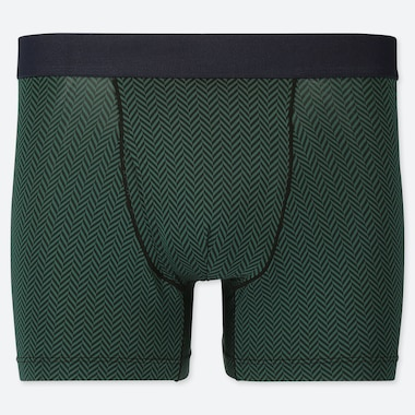 MEN AIRism PRINTED BOXER BRIEFS, DARK GREEN, medium