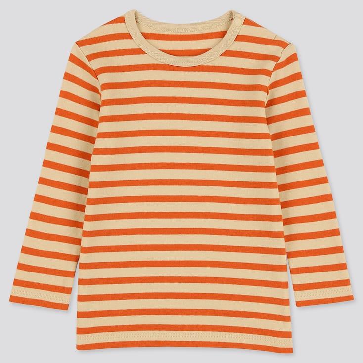 Toddler Crew Neck Long-sleeve T-shirt, Beige, Large