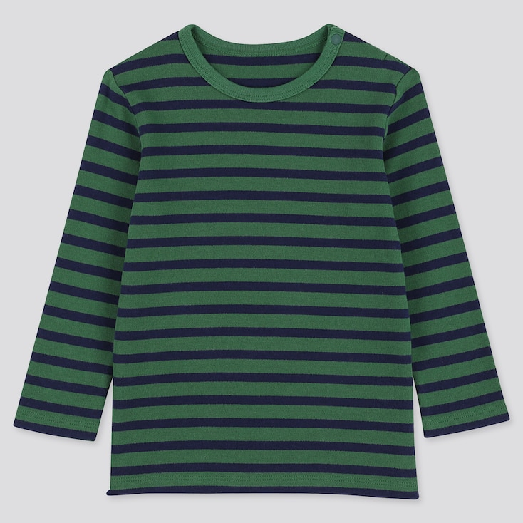 TODDLER CREW NECK LONG-SLEEVE T-SHIRT, GREEN, large