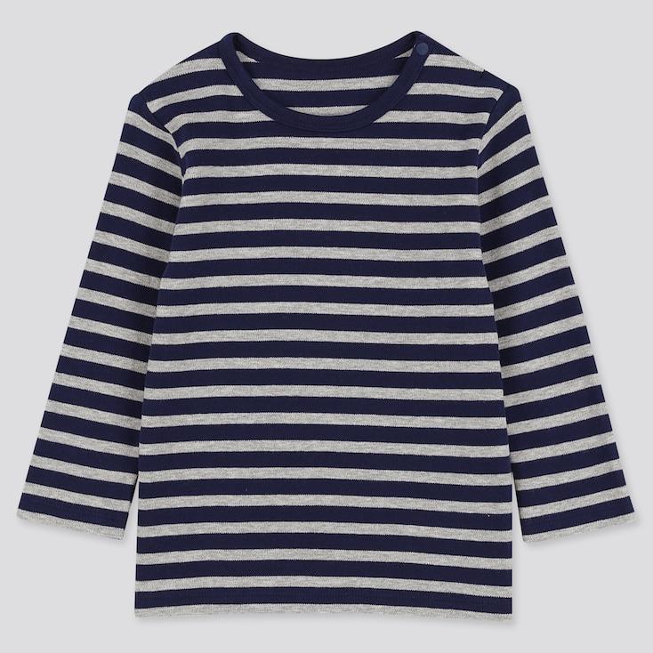 Toddler Crew Neck Long-Sleeve T-Shirt, Navy, Large