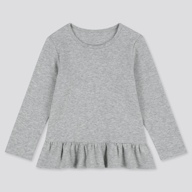 BABIES TODDLER PEPLUM CREW NECK LONG SLEEVED T-SHIRT