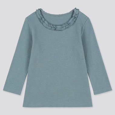 BABIES TODDLER FRILL CREW NECK LONG SLEEVED T-SHIRT