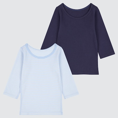 BABIES TODDLER RIBBED COTTON LONG SLEEVED INNER T-SHIRT (TWO PACK)