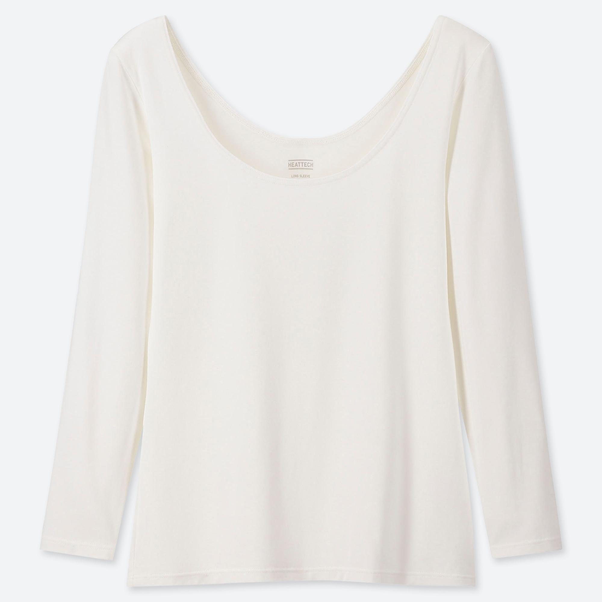 Larga Manga Camiseta Heattech Bailarina Cuello Mujer WEHe2ID9Y