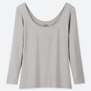 Women Heattech Ballet Neck Long-Sleeve T-Shirt, Gray, Medium