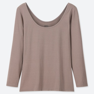 WOMEN HEATTECH BALLET NECK LONG-SLEEVE T-SHIRT, BROWN, medium