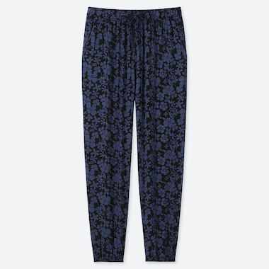 WOMEN DRAPE JOGGER PANTS (GRAPHIC FLOWER), BLACK, medium