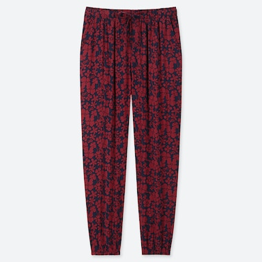 WOMEN DRAPE JOGGER PANTS (GRAPHIC FLOWER), NAVY, medium