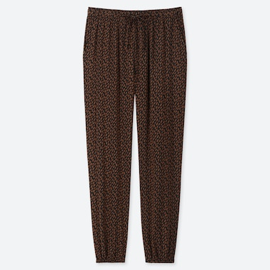 WOMEN DRAPE JOGGER PANTS (PAINT DOTS), BROWN, medium