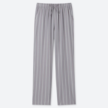 WOMEN DRAPE STRAIGHT PANTS (MULTI STRIPED), GRAY, medium