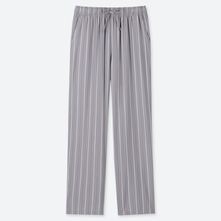 WOMEN DRAPE STRAIGHT PANTS (MULTI STRIPED), GRAY, large