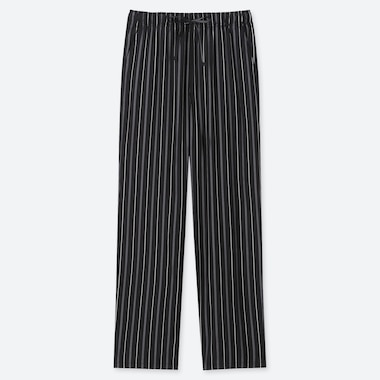 WOMEN DRAPE STRAIGHT PANTS (MULTI STRIPED), BLACK, medium