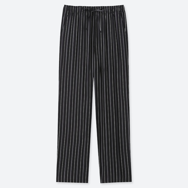WOMEN DRAPE STRAIGHT PANTS (MULTI STRIPED), BLACK, large