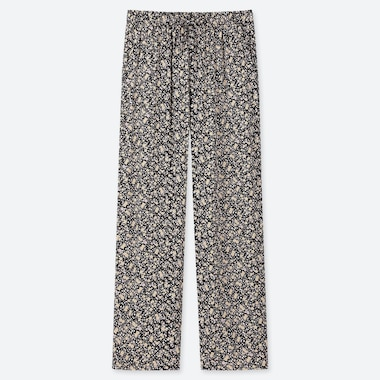WOMEN DRAPE STRAIGHT LEG FLORAL PRINT TROUSERS