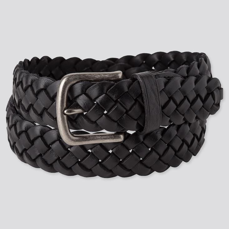 Men Leather Wide Woven Belt by Uniqlo