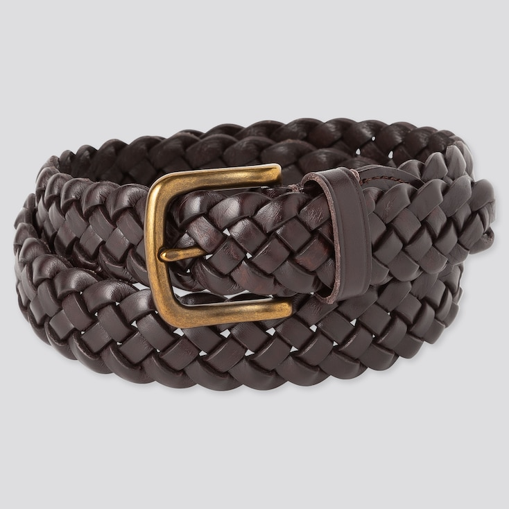 Men Leather Wide Mesh Belt, Dark Brown, Large
