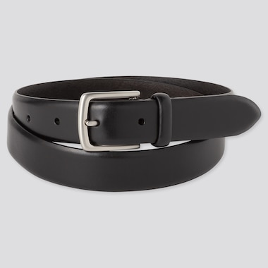 Men Italian Leather No-Stitch Belt, Black, Medium