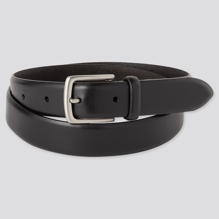 MEN ITALIAN LEATHER NO-STITCH BELT, BLACK, large