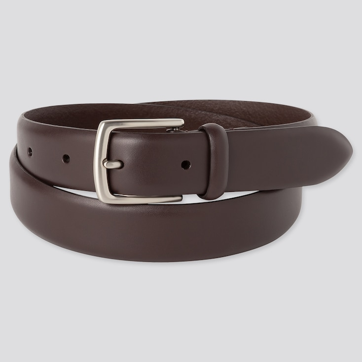 Men Italian Leather No-Stitch Belt, Dark Brown, Large