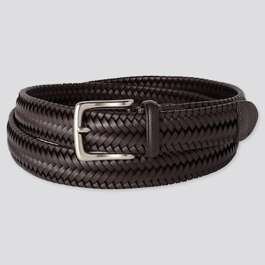 MEN LEATHER STRETCH MESH BELT, DARK BROWN, medium