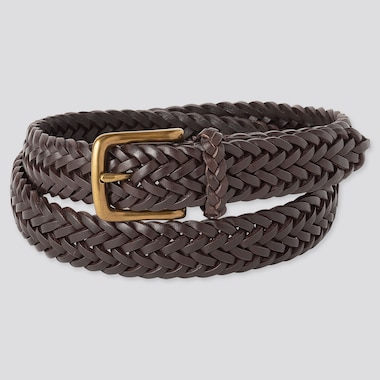 MEN LEATHER MESH BELT, DARK BROWN, medium