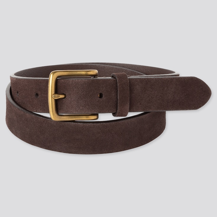Men Italian Leather Suede Belt, Dark Brown, Large