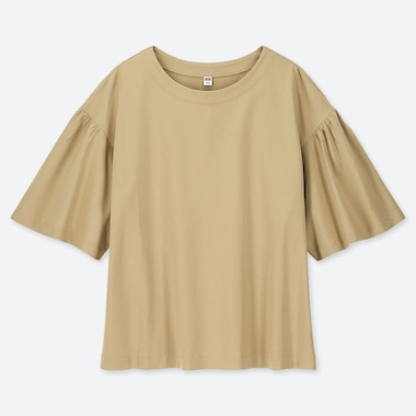 WOMEN MERCERISED COTTON GATHERED HALF SLEEVED T-SHIRT
