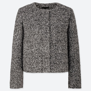 WOMEN TWEED COLLARLESS JACKET (ONLINE EXCLUSIVE), GRAY, medium