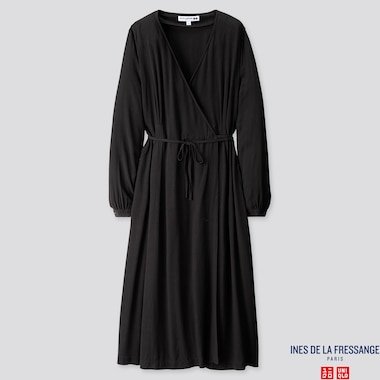 WOMEN RAYON CREPE WRAP LONG-SLEEVE DRESS (INES DE LA FRESSANGE), BLACK, medium