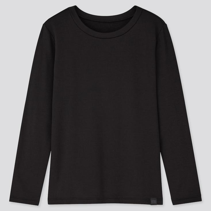 KIDS HEATTECH ULTRA WARM CREW NECK T-SHIRT, BLACK, large