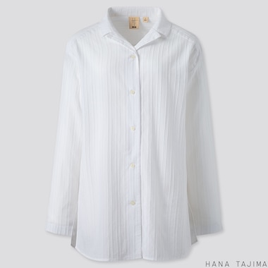 WOMEN COTTON OPEN COLLAR LONG-SLEEVE SHIRT (HANA TAJIMA), WHITE, medium