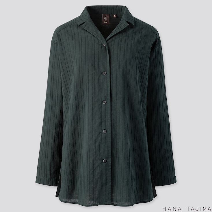WOMEN COTTON OPEN COLLAR LONG-SLEEVE SHIRT (HANA TAJIMA), DARK GREEN, large