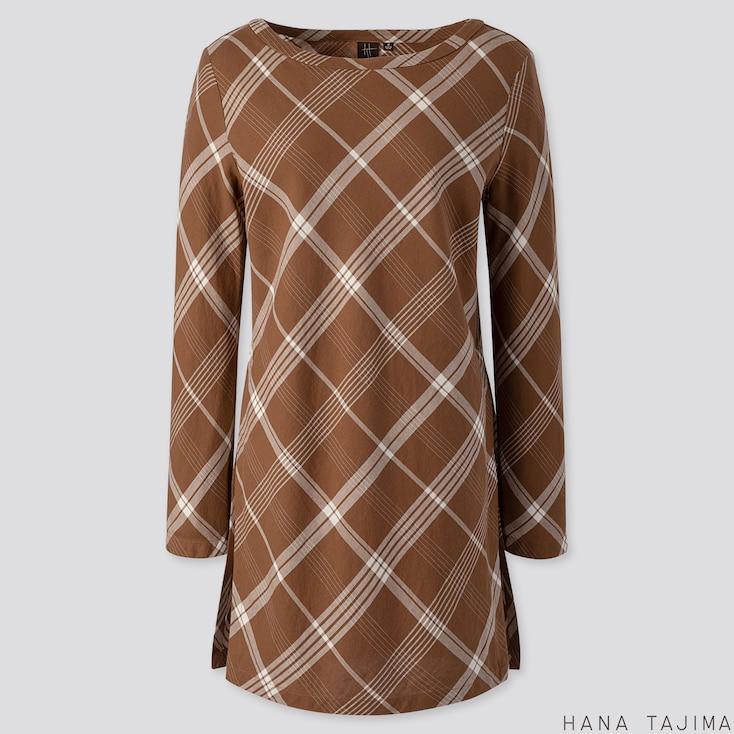 WOMEN FLANNEL BOAT NECK LONG-SLEEVE TUNIC (HANA TAJIMA), BROWN, large