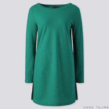 WOMEN FLANNEL BOAT NECK LONG-SLEEVE TUNIC (HANA TAJIMA), GREEN, medium